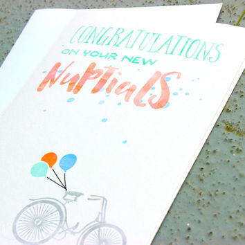 Wedding Congratulations Greeting Card - Nuptials Card - Wedding Congratulations Greeting Card - Pretty, Modern & Fresh!