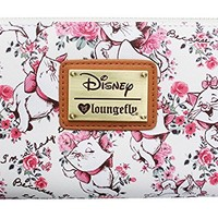 Loungefly Disney Aristocats Marie Cat Kitten I'm a Lady White Pink Floral Wallet