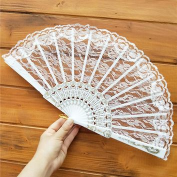Lace Hand Fans Folding Dance Fan Polyester Home Wedding Decor Party Event Favors Gift 9 Solid Colors Chinese Spanish Style  F730