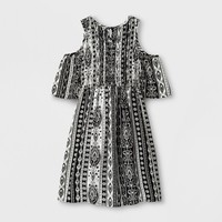 Girls' Smocked Cold Shoulder Dress - Art Class™ Black
