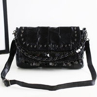 Cool Black Leather Mosaic One Shoulder Bags Messenger Bags [4915786948]