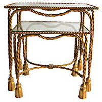 Gilded Tassel-Motif Nesting Tables, PairOLIVE + SABRINA AT HOME