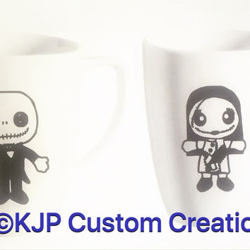Set of two custom Jack Skellington and Sally coffee mugs