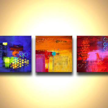 Original Contemporary modern Abstract Painting On Canvas Colorful Blue, Reds, Oranges, Yellow, Green, Turquoise by Osnat