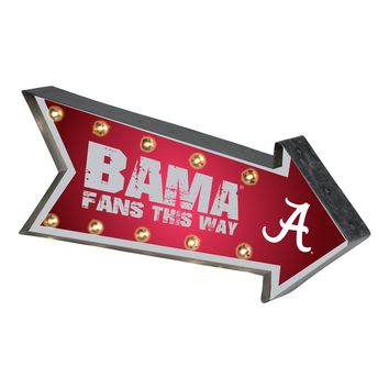 Alabama Crimson Tide Sign Marquee Style Light Up Arrow Design