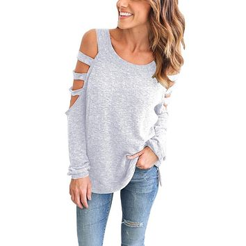 Young Kawaii' Scoop Neck Hollow Out Long Sleeved Cotton Tops Shirts Plus Size Casual Solild Bottoming Blouse Blusa LX136
