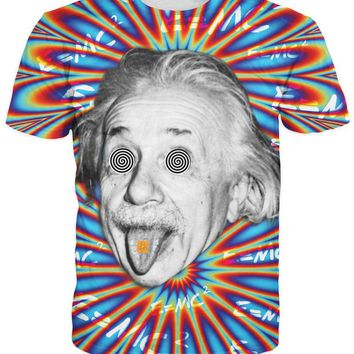 Women/Men Trippy Acid Theory T-Shirt 3d T Shirt Colorful Psychedelic Print Albert Einstein