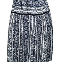 Mogul Womens Medieval Skirts Blue Printed Tiered A-line Bohemian Long Maxi Skirts