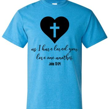 Love One Another Inspirational Religious Short Sleeve Shirt