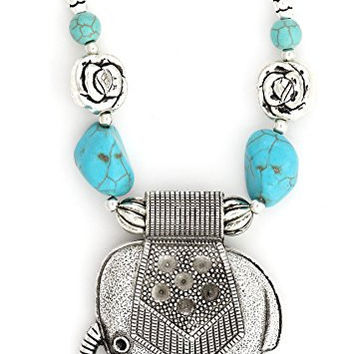 Elephant Necklace Silver Tone Indian African NR79 Turquoise Chunks Pendant Fashion Jewelry