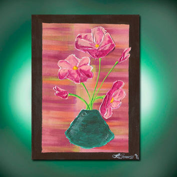 Spring In A Vase, Original Acrylic Abstract Painting, Pink Orange Blue and Brown, Pink Flowers in Blue Vase (Painting No. N040)