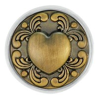 Ginger Snaps Ant. Brass Tattoo Heart Snap SN01-09