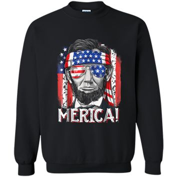 4th of July  for Men Merica Abe Lincoln Boys Kids Gift Printed Crewneck Pullover Sweatshirt