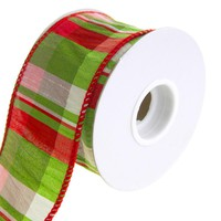Lime Plaid Wired Dupioni Christmas Holiday Ribbon, 2-1/2-Inch, 10 Yards
