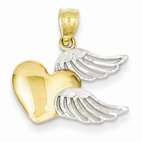 14k Two Tone Gold Heart with Wings Charm Pendant