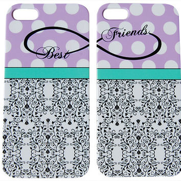 Purple Polka Dot Best Friends Phone Case