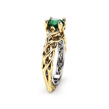 Unique Engagement Ring Emerald Engagement Ring Filigree Designed 18K Two Tone Gold Ring