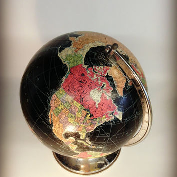 "Vintage Antique World Replogle Precision Globe 1940's Teacher School Office Den 12"" Black Colorful"
