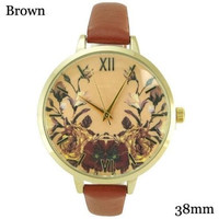 Ladies Geneva Floral Print Roman Numerals Thin Leatherette Watch 38Mm Brown Colo