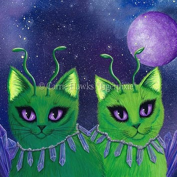 Alien Cats Art Cat Painting Space Cats Green Alien Cat Purple Sci-fi Art Crystals Fantasy Cat Art Print 8x10 Cat Lovers Art