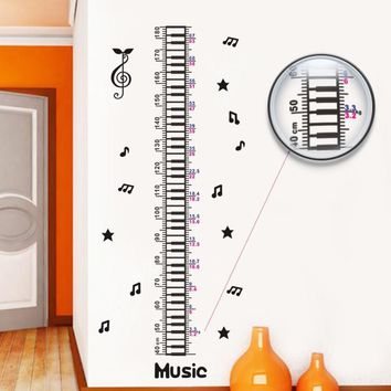Romantic Music Notes Height Measure Wall Stickers