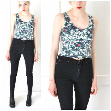 vintage 80s 90s SURFER tank top floral PELICAN COVE stretchy hipster crop top