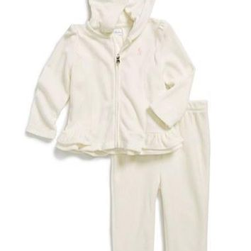 Infant Girl's Ralph Lauren Velour Full Zip Hoodie & Sweatpants