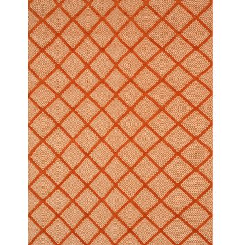 EORC Handmade Wool Orange Transitional Trellis Xavier Rug