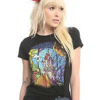 Licensed cool Disney Beauty & the Beast Stained Magic Glass Castle Tee Shirt Juniors Large NEW