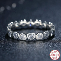 Size 8 Authentic  925 Sterling  Love Heart Forever More Stackable Ring  CZ Compatible with Pandora Jewelry Gift PA7124