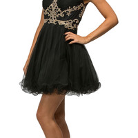 Thick Straps Poofy Embellished Sweet Sixteen Party Dress Black