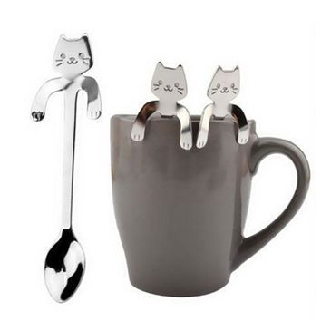 Mounchain Cute Cartoon Cat Stainless Steel Handle Hanging Tea Coffee Spoon Ice Cream Cutlery Tableware Outdoor Camping Picnic