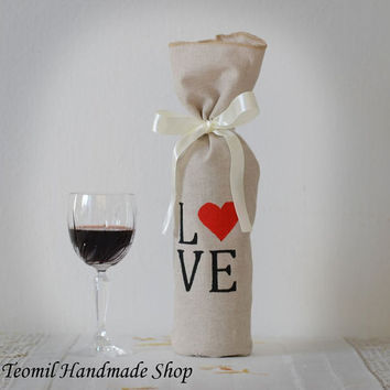 Wine Bottle Bag, Favor Bag, Linen Gift Bag, Wine Decor, Love - SET OF 10