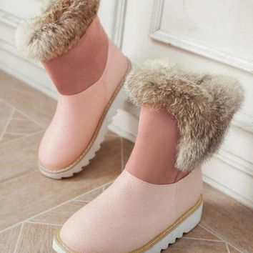 New Pink Round Toe Flat Faux Fur Patchwork Casual Ankle Boots