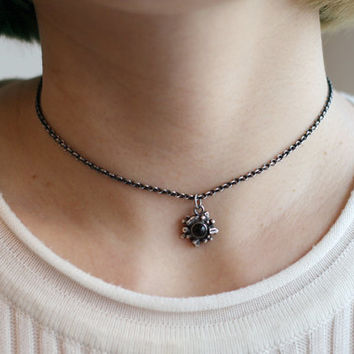 black onyx choker necklace, 925 sterling silver necklace, unique gemstone choker, boho style choker