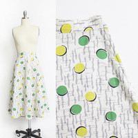 Vintage 1950s Skirt - NOVELTY Print Green Dot Squiggle Waffle Weave Print 50s - Small S