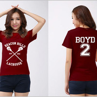Beacon Hills Lacrosse Shirt BOYD 2 Logo Black, White, Maroon Men & Women Unisex t-Shirt Tee S,M,L,XL,XXL #2