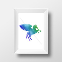 Pegasus Decoration, Animal Silhouette Wall Art, Watercolor Horse Printable Artwork, Digital Download