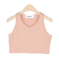 Slim-Fitted Sleeveless Crop Shirt