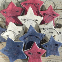 July 4th Salt Dough Stars Set of 12 Red by cookiedoughcreations