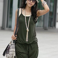 Casual Loose Romper with Drawstring