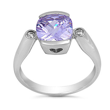 Sterling Silver CZ Simulated Lavender Amethyst Solitaire Ring 11MM
