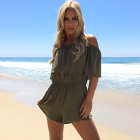 On The Fence Off Shoulder Romper In Olive
