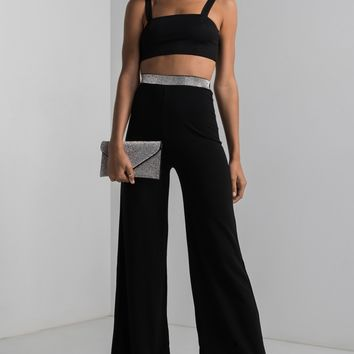AKIRA High Rise Sparkle Waist Wide Leg Pants in Black
