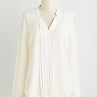 Minimal Mid-length Long Sleeve Collected Coordinator Top in Ivory