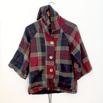 Red Navy And Green Tartan Plaid Hooded Wool Jacket (Small/Indie Brands)