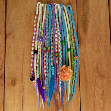 Wool Dreads, 10 DE Hippie Wool Dreadlocks, Fairy Dreads, Hair Wraps, boho hair jewelry