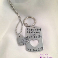 """SALE Hand Stamped Necklace/ Keychain Set   """"Daddys girl"""" Pendant Hand Stamped Keychains Combo Set Gifts for Dad Fathers Day Gift"""