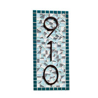 Teal Outdoor Mosaic Address Sign, Colorful House Number Plaque