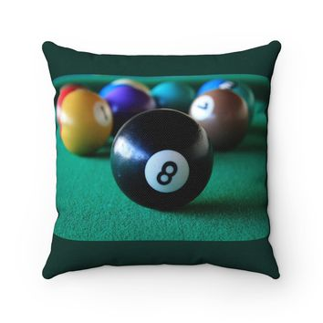 8 Ball Pool Table Polyester Square Pillow